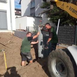 Bau einer Steinmauer